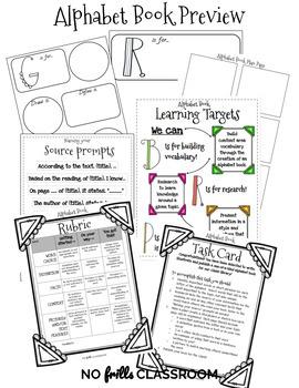 {Editable} ABC Alphabet Book Task Card, Learning Targets,Templates,Rubric