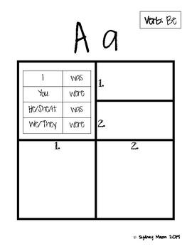 Alphabet Book, Teach ABC's with 20+ Past Tense Verbs, ELL Newcomer Friendly