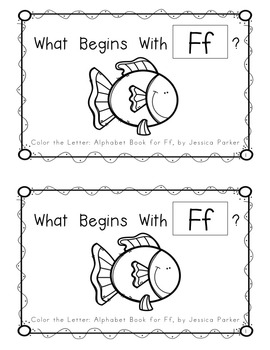 """Alphabet Book for Letter F: """"Color the Letter"""" Alphabet Book - Sight Word A!"""