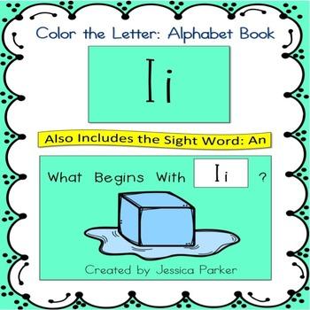 "Alphabet Book for Letter I: ""Color the Letter"" Alphabet Bo"