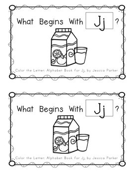 "Alphabet Book for Letter J: ""Color the Letter"" Alphabet Book - Sight Word MY!"