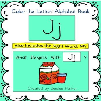 "Alphabet Book for Letter J: ""Color the Letter"" Alphabet Bo"
