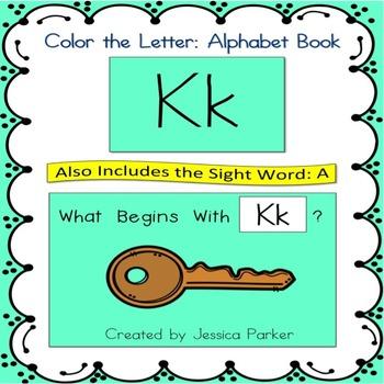 """Alphabet Book for Letter K: """"Color the Letter"""" Alphabet Bo"""