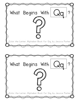 """Alphabet Book for Letter Q: """"Color the Letter"""" Alphabet Book - Sight Words, Too!"""