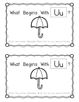 "Alphabet Book for Letter U: ""Color the Letter"" Alphabet Book - Sight Words, Too!"