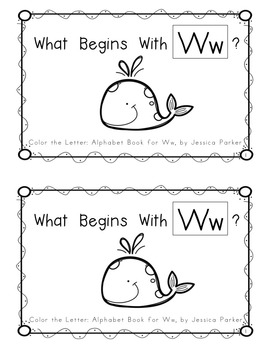 """Alphabet Book for Letter W: """"Color the Letter"""" Alphabet Book - Sight Words, Too!"""