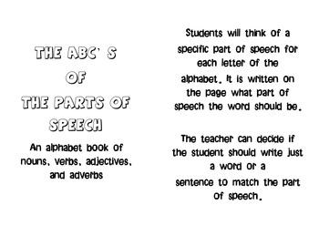 Alphabet Book for Nouns, Verbs, Adverbs, and Adjectives- parts of speech