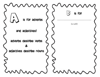 Alphabet Book for Nouns, Verbs, Adverbs, and Adjectives- parts of speech