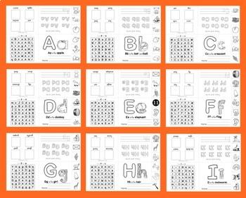 Alphabet Booklets Interactive Foldable SET 3 Sound & Letter Practice 26 Booklets