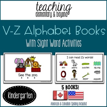Alphabet Books Letters V to Z and Activities