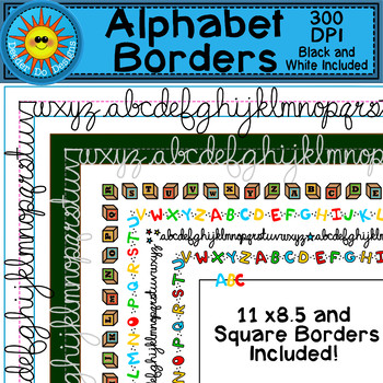 Alphabet Borders Clip Art (Block and Cursive ABC's)