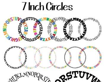 Alphabet Borders, Patterns, Circles and Frames 300 DPI Printable Clip Art