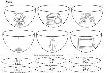 Alphabet Bowl of Soup Cut and Paste Sheets ( NO PREP)