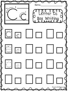 Alphabet Box Writing Worksheets. Preschool-Kindergarten Phonics and ELA