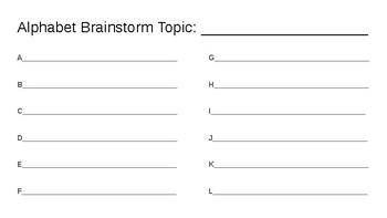 Alphabet Brainstorm: Spring (Season)