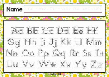 Alphabet Handwriting Cards with directional arrows - Buggy Theme
