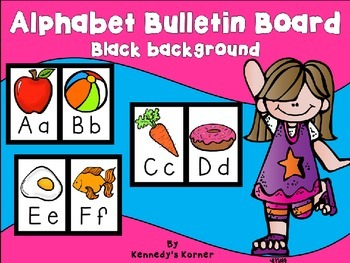 Alphabet Bulletin Board ~ Black background with Creative Clips!