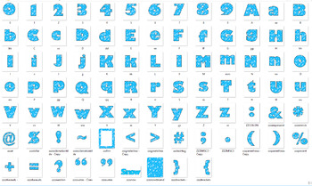 Alphabet Clipart Bulletin Board Letter Set Bright Blue Snowflakes