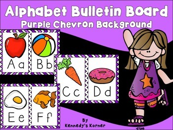 Alphabet Bulletin Board - Purple Chevron Background with Creative Clips