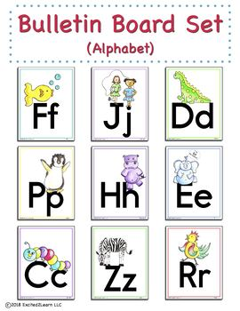 Alphabet Bulletin Board Set (original artwork) - English Alphabet