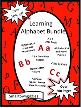 Alphabet Literacy Bundle NO PREP/LOW Printables Kindergarten