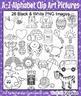 Alphabet Bundle A-Z Phonics Picture Clip Art 52 High Quality Images Color / BW