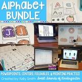 Alphabet Bundle {Alphabet Printing Practice, Centers, & Interactive Powerpoints}