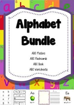 Alphabet Bundle of Book, Posters, Flashcards, Worksheets