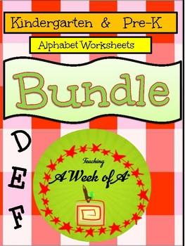 Alphabet Specialty: Alpha Bundle Letters D, E, F    30 pages