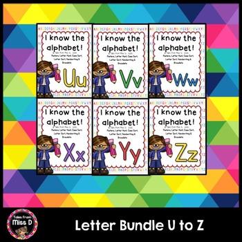 Alphabet Letters Bundle U V W X Y Z