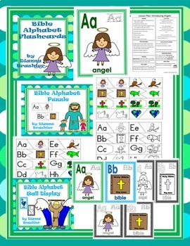 Alphabet Christian Theme Flashcards, Handwriting, Puzzles, and Activities