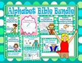 Alphabet Christian Theme Flashcards, Handwriting, Puzzles, and Activities Bundle