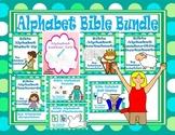 Alphabet Christian Theme Flashcards, Handwriting, Puzzles,