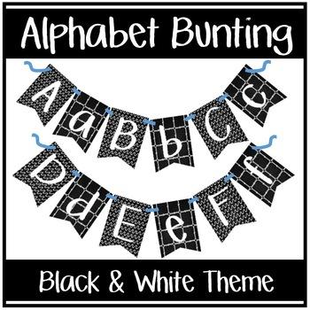 Alphabet Bunting - Black & White