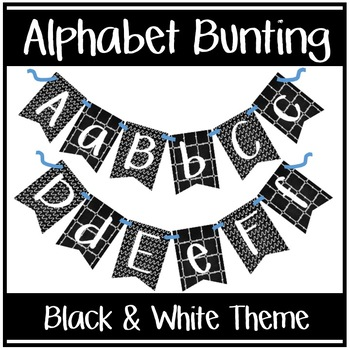 Alphabet Bunting - Black & White