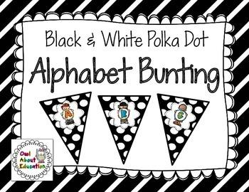 Alphabet Bunting {Black & White Polka Dot}