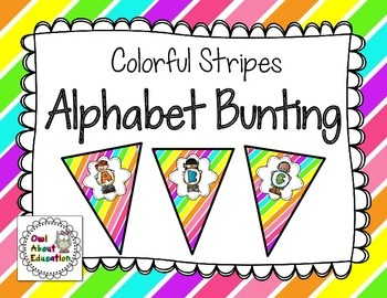 Alphabet Bunting {Colorful Stripes}