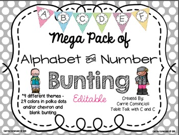 Editable Alphabet and Number Bunting Mega Pack