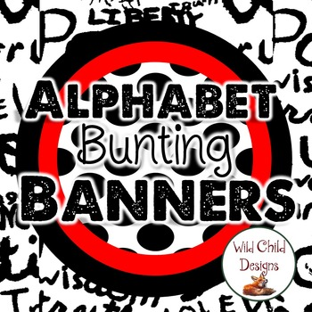 Alphabet Bunting Pennants: Black & White Themed