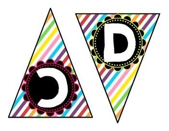 Alphabet Bunting - Rainbow Stripes