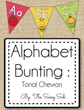Alphabet Bunting: Tonal Chevron Theme