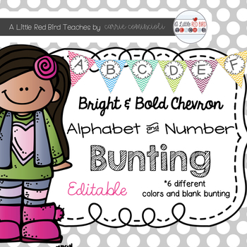 Editable Alphabet Bunting with Bright Bold Chevron {Includes Numbers}