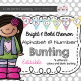 Editable Alphabet Bunting with Bright Bold Chevron {Includ