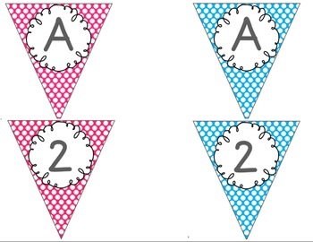Editable Alphabet Bunting with Bright Bold Polka Dots {Includes Numbers}