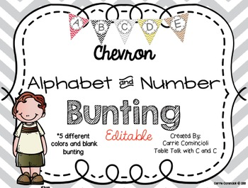 Editable Alphabet Bunting with Chevron Red, Black, Gray, Gold, Brown {Numbers}
