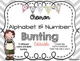 Editable Alphabet Bunting with Chevron Red, Black, Gray, G