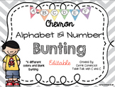 Editable Alphabet Bunting with Colorful Chevron {Includes