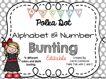 Editable Alphabet Bunting with Colorful Polka Dots {Includ