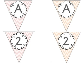 Editable Alphabet Bunting with Pastel Chevron {Includes Numbers}