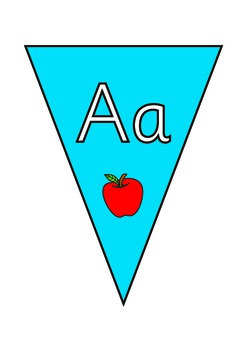 Alphabet  Bunting with Pictures  . Upper and Lower Case.